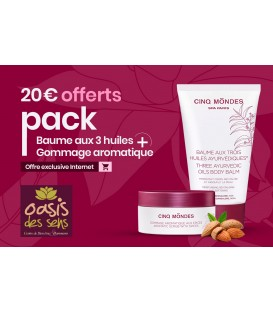 20 € OFFERT | Pack Baume aux 3 huiles + Gommage aromatique